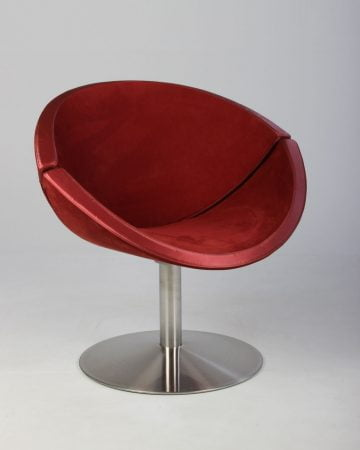 Stol Køb brugte lounge stol fora form planet i rød, krom