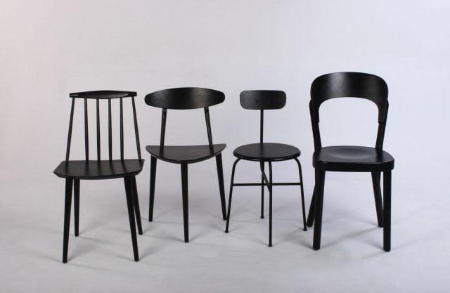 Blandede spisebordsstole sorte