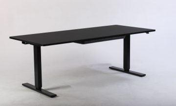 Sort hæve sænkebord med skuffe