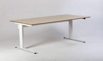 hæve sænkebord i hvid med lyst træ